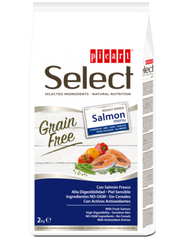 Picart Select Dog Grain Free Adult Salmón Menu