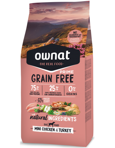 Pienso Ownat Grain Free Mini Adult Pollo y Pavo