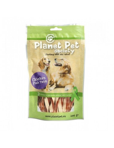 Snack Twist de Pollo y Pescado Planet Pet Society para Perros