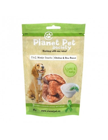 Snack 2 en 1 Huesitos de  Pollo y Arroz Planet Pet Society para Perros