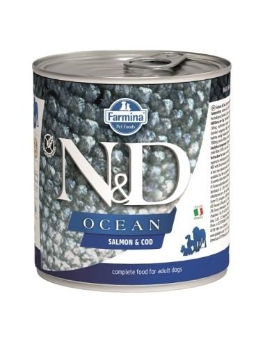Farmina N&D Grain Free Ocean Dog Salmon y Bacalao Lata